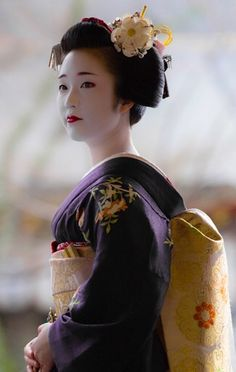 purple and sun yellow kimono, Kyoto, Japan. Geisha Japan, Geisha Art, Kyoto Japan, Okinawa Japan, Tokyo Japan, Japanese Beauty, Japanese Fashion, Asian Beauty, Samurai