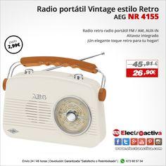 ¡Un elegante toque retro para tu hogar! Radio Portátil Retro AEG NR 4155 http://www.electroactiva.com/aeg-radio-portatil-retro-nr-4155-crema.html #Elmejorprecio #Radio #Chollo #Electronica #PymesUnidas