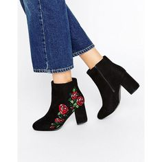 ASOS RULE Embroidered Ankle Boots ($58) ❤ liked on Polyvore featuring shoes, boots, ankle booties, black, short black boots, bootie boots, round toe ankle boots, block heel ankle boots and floral boots