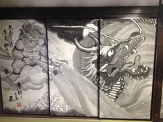 """Dragon and Fujin in the folding screen """"Fujin"""", the god of the winds. Buddhism, Landscapes, Dragon, Japan, God, Painting, Paisajes, Dios, Scenery"""