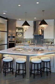 7 Materials For Creating The Perfect Kitchen Countertop Kitchen Countertop Materials, Concrete Kitchen, Kitchen Countertops, Under Counter Lighting, Beach Kitchens, Granite Slab, Contemporary Kitchen Design, Kitchen Pendants, Open Shelves