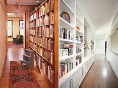 11. Line the Hallway: Traditionally unused space like a hallway can be a great place to install bookshelves. (via James Wagman on Houzz and White Picket Fence Inc on Houzz)