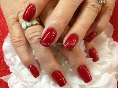 Opi red polish over acrylic nails