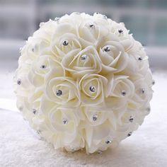 Elegant White Ivory Wedding Bouquet for Brides Bridesmaid Rhinestone Decorative Poliester Roses Ribbon buque de casamento Custom