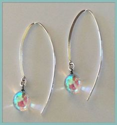 8fbd0b064b168 Handmade fused glass earrings Glass Pearl Droplet sterling silver hand  crafted fine jewelry designs  FineJewelryStones