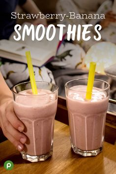 You're only four easy Publix ingredients away from a batch of delicious strawberry-banana smoothies! All it takes is a couple bananas, frozen strawberries, milk, and powdered sugar to brighten up your afternoon. Banana Smoothies, Strawberry Banana Smoothie, Healthy Smoothies, Healthy Drinks, Smoothie Recipes, Breakfast Smoothies, Drink Recipes, Healthy Afternoon Snacks, Healthy Shakes