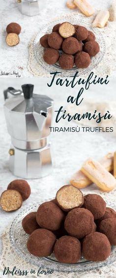 Soft and fast tiramisu tartufini! The tiramisu in sol boc … Bakery Recipes, Dessert Recipes, Tiramisu, Pause Café, Fudge, Truffle Recipe, Oreo Cheesecake, Mini Desserts, Nutella