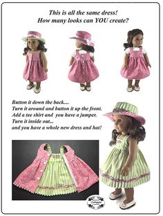 """Fun in the Sun PDF Sewing Pattern for American Girl and other 18"""" dolls Hat and…"""
