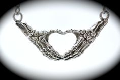 Sterling silver skeleton hands making an I heart by CharliesSpot, $120.00