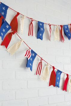 Jul 2017 - Make a July ribbon garland to decorate your Independence Day celebration—all you need is red, white, and blue ribbon and a few other craft supplies. 4th July Crafts, Fourth Of July Decor, 4th Of July Celebration, 4th Of July Decorations, Patriotic Crafts, Patriotic Party, 4th Of July Party, Birthday Decorations, 4th Of July Ideas