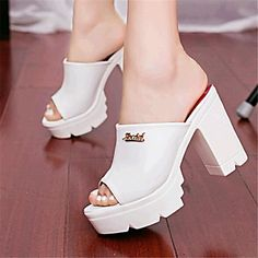 ... bottom high heel shoes fish mouth female cool slippers waterproof  Taiwan thick with sexy sandals. Women's Summer Heels Leatherette Outdoor /  Casual ...
