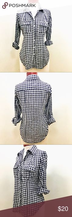 Sandra Ingrish Navy Blue Gingham Long-sleeve Shirt Navy blue and white checked long shirt with button cuff. 99% cotton , 1% spandex. Size Medium/petite. Approximate measurements in inches: bust 38, waist 36, should to shoulder 15, Sleeve length 24, length 26. Sandra Ingrish Tops Button Down Shirts