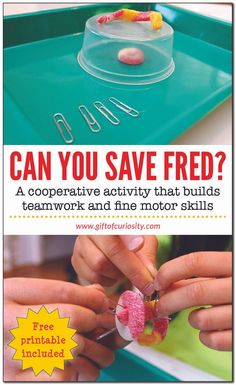 Can You Save Fred? Kids will love this cooperative activity that builds teamwork, planning, communication, and fine motor skills. #freeprintable #giftofcuriosity #handsonlearning || Gift of Curiosity Cooperative Learning Activities, Leadership Activities, Dementia Activities, Physical Education Games, Group Activities, Physical Activities, Kids Educational Crafts, Science Crafts, Educational Websites