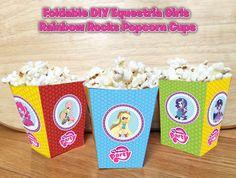 Foldable Equestria Girls Rainbow Rocks Popcorn Box - Download and Print Equestria Girls Popcorn Box Birthday Party Rainbow Rocks Birthday by InstaBirthday on Etsy