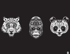 """Posters depicting endangered species as Mexican sugar skulls by Justin Steinburg - From the artist's comments: """"Día de los Muertos (Day of the Dead) is a Mexican holiday celebrated throughout Mexico and around the world in other cultures. The holiday focuses on gathering to pray for and remember friends and family members who have died. We must learn to celebrate the beauty of these endangered animals while they are still alive."""""""