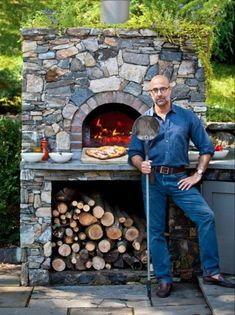 Northern Westchester& Stanley Tucci in front of his home& outdoor pizza oven. He and his parents, Joan and Stan, wrote & Tucci Cookbook,& a collection of family recipes, with chef Gianni Scappin. Brick Oven Outdoor, Pizza Oven Outdoor, Outdoor Cooking, Outdoor Kitchens, Outdoor Bars, Wood Fired Oven, Wood Fired Pizza, Barbecue Four A Pizza, Stone Pizza Oven
