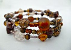 Poppito - Product: Brown bead wrap Bracelet £8.00 reccabella Beaded Wrap Bracelets, Beads, Brown, Jewelry, Beading, Jewlery, Jewerly, Schmuck, Bead