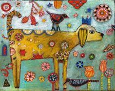 Folk Art Dog Painting by Jill Mayberg