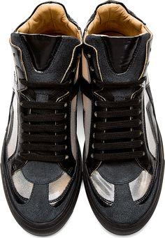99b59081dee Mm6 Maison Martin Margiela  Black Cut-Out Iris High-Top Sneakers Maison  Martin