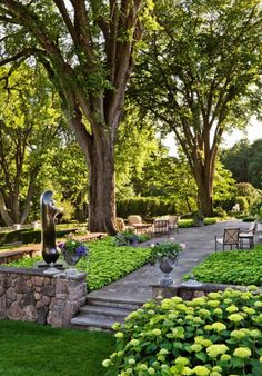 Peaceful outdoor patio flanked by gorgeous old trees.