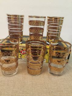Double Shot Glasses  Jiggers  Mid Century Set by PineStreetPickers