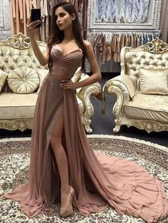 two piece split side chiffon prom dresses, prom dresses split side