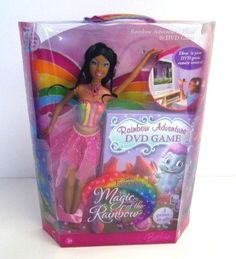 Barbie Fairytopia Magic of the Rainbow: Rainbow Adventure - Elina & DVD Game (African American). Girls can fly Elina to the right or left to capture magical crystals and travel through many worlds of Fairytopia. Elina doll has magical rainbow wings that flutter with the push of a button on her back. Includes DVD game.
