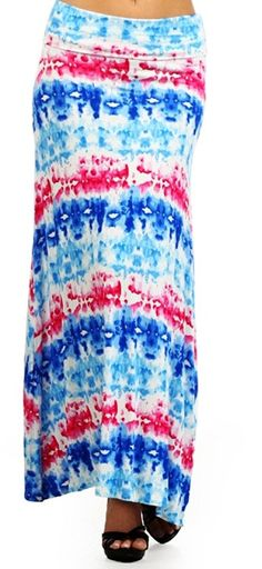 Tie dye maxi skirt fold over waist SZ S M or L.. by Foreverpeace, $24.99