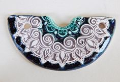 Handmade stoneware pendant tribal  emerald   brown and by Majoyoal