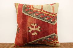 Antique pillow cover 16 x 16 Vintage kilim by kilimwarehouse, $54.00