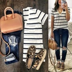 Flat Lays Come to Life striped v neck Comfy Travel Outfit, Travel Outfit Summer, Casual Outfits, Cute Outfits, Fashion Outfits, Spring Summer Fashion, Spring Outfits, Leopard Shoes Outfit, Look Casual Chic