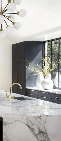 grey kitchen brass hardware marble island