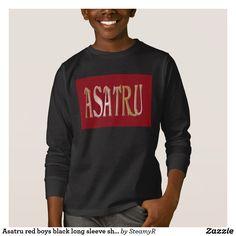 Asatru red boys black long sleeve shirt