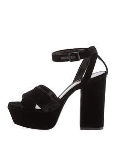 3784c8a35254 Saint Laurent Farrah Velvet Platform Sandal Sandal
