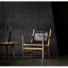 Hans Wegner CH44 Ladderback Chair Oak with Black Leather Cushion