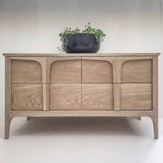An elegant and simple low sideboard with 4 deep drawers and precisely defined proportions in traditional construction with mortise and tenon joints,dovetail drawers and the added benefit of soft close invisible runners. Small Sideboard, Dovetail Drawers, Mortise And Tenon, Furniture Design, Storage, Simple, Objects, Home Decor, Purse Storage