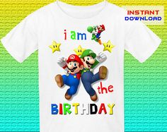 Super Mario Birthday Shirt Iron On Transfer, Super Mario Iron On Transfer, Mario Birthday Shirt Design, Digital File Only, Instant Download