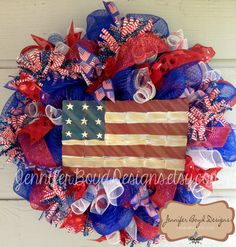 Flag Patriotic USA Red, White, and Blue Deco Mesh Wreath - Fourth of July, Support Our Troops Patriotic Wreath, 4th Of July Wreath, Metal Flag, Deco Mesh Wreaths, Craft Projects, Craft Ideas, Diy Wreath, Holiday Wreaths, Fourth Of July