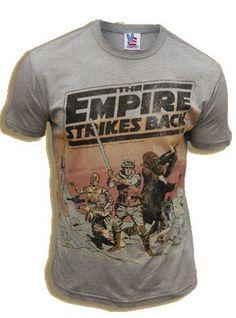 Amazon.com: Junk Food Star Wars The Empire Strikes Back Steel Heather/Tan Adult Tee T-Shirt: Clothing