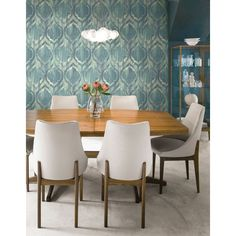 Seabrook Wallpaper LG90807 - Lugano - All Wallcoverings - Ogee design wallcovering in a dining room photo