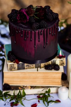No Recipe... just a really beautiful cake~  Gothic Wedding Cake Black and Red Colorado Springs Denver Wedding Cakes - Flower and Ivy Photography #birthdaycake