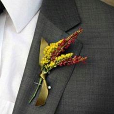 Alternative button hole for autumn weddings