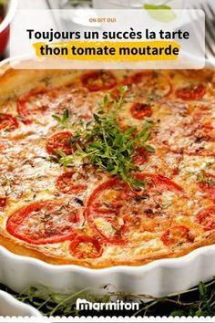 Tarte thon, tomate et moutarde Recipe of the farmer tuna mustard tomato pie, very simple to make and delicious Quiche Recipes, Tart Recipes, Salad Recipes, Snack Recipes, Cooking Recipes, Soft Tortilla, Healthy Snacks, Healthy Recipes, Simple Recipes