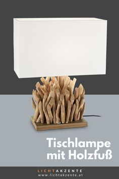 """Die Tischleuchte mit Holzfuß und eckigen Lampenschirm findest du bei Lichtakzente.at. Die eckige Tischlechte """"Snell"""" in Weiß trägt zur gemütlichen Beleuchtung im Esszimmer, Wohnzimmer, Schlafzimmer, Flur oder in einem Hotelzimmer bei. Lampe Tisch, Tischleuchte aus Treibholz // #leuchte #wohnen #beleuchtung #licht #interiordesign #lampen und leuchten #lichtakzente Interiordesign, Home Decor, Fabric Lampshade, Decoration Home, Room Decor, Interior Decorating"""