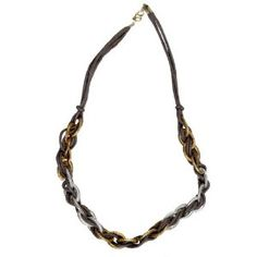 "JousJous Brown Leather Gold and Silver Links Handmade Necklace, Matinee Length, 20"" Long (Jewelry)"