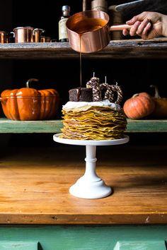 Pumpkin Nutella Crepe Cake…the Year Celebration Cake! Crepe Ingredients, Cake Recipes, Dessert Recipes, Nutella Crepes, Date Cake, Chocolate Bourbon, Toasted Pumpkin Seeds, Vanilla Whipped Cream, Crepe Cake
