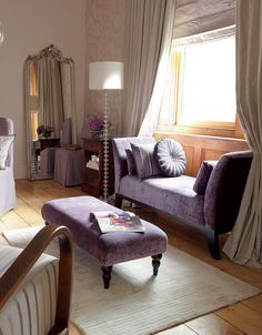 Find sophisticated detail in every Laura Ashley collection - home furnishings, children's room decor, and women, girls & men's fashion. Mauve Living Room, Laura Ashley Furniture, Purple Interior, Home And Deco, Living Room Inspiration, Living Spaces, Ottoman, Sweet Home, Room Decor