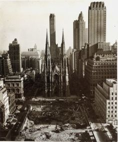 and and Fifth and Sixth Avenues, that was razed to build Rockefeller Center. Patrick's Cathedral in background. New-York Historical Society archive. Old Photos, Antique Pictures, Visiting Nyc, Vintage New York, Rockefeller Center, City Photography, Historical Society, Best Cities, Historical Photos