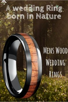 I finally found the perfect and unique wedding ring for men future husband. This woodland wedding ring is crafted out of black high tech ceramic and inlaid with genuine koa wood. He would love this wood wedding ring because he is such an outdoorsmen!
