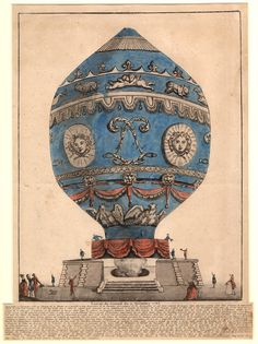 November 21, 1783: Pilâtre de Rozier and François Laurent, the Marquis d'Arlandes, became the first human beings to make a free flight in a Montgolfier hot air balloon. Depicted in this etching, the balloon prepares to lift off from the grounds of the Château de la Muette outside Paris.